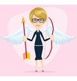 Beautiful girl in a cupid suit with wings bow and vector image