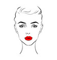 beautiful woman face with red lipstick on lips vector image vector image