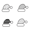 Black And White Christmas Hat Icon Set vector image