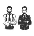 black and white stylish man logo vector image