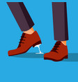 business trouble stuck feet businessman vector image