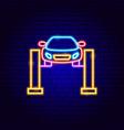 car jack neon sign vector image