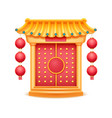 castle with roof column lantern gate with steps vector image