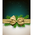 Christmas background with golden bow vector image vector image