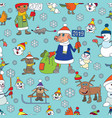 christmas seamless snowmen year of the p vector image vector image