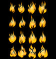 collection of fires on a black background vector image