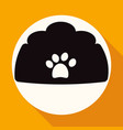 dog bowl icon on white circle with a long shadow vector image