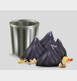empty trash bin kitchen garbage container and vector image vector image