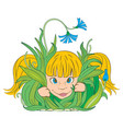 girl in the grass vector image vector image