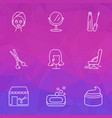 hairdresser icons line style set with mirror vector image