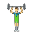 Handsome power athletic man in training pumping up vector image vector image
