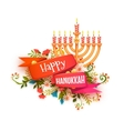 Happy hanukkah banner with ribbon and vector image vector image