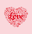 heart with love and floral elements vector image