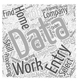 Home data entry employment Word Cloud Concept vector image vector image