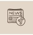 International newspaper sketch icon vector image vector image