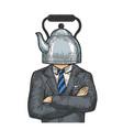 kettle pot head businessman sketch engraving vector image vector image