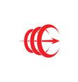 letter c 3d arrow curves motion logo vector image vector image