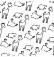 line silhouette wild animal safari background vector image vector image