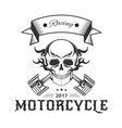 motorcycle racing logo with skull in flames and vector image vector image