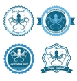 Octopus sea food logo or badge set vector image vector image