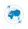 plane and globe vector image vector image