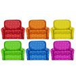 Polkadots sofa in six colors vector image vector image