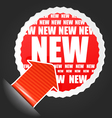 Red advertising label with accent arrow vector image vector image