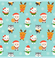 Santa and animal christmas seamless pattern theme