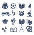school symbols black icons set of school vector image