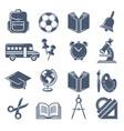 school symbols black icons set school vector image vector image