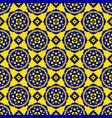 seamless pattern - blue black yellow bloom tiles vector image vector image