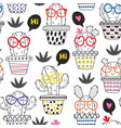 seamless pattern coloring with cheerful cactus vector image vector image