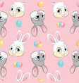 seamless pattern with heads easter bunnies pink vector image