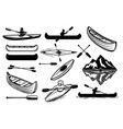 set kayaking sport icons canoe boats vector image
