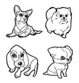 Set of cartoon cute dog coloring page