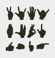 set of hands showing different gestures vector image vector image