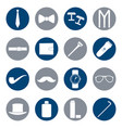 set of white icons of man accessories vector image vector image