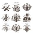 set vintage beer festival emblems vector image vector image