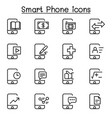 smartphone icon set in thin line style vector image vector image
