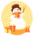 snowman and gift box template for christmas design vector image vector image
