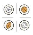 sport balls color icons set vector image