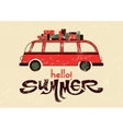 Summer typographic retro grunge poster with bus vector image