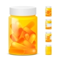 three yellow plastic medicine bottles empty and vector image vector image