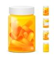 three yellow plastic medicine bottles empty vector image vector image