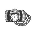 time bomb sketch engraving vector image