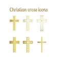 Golden christian cross icons vector image