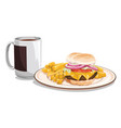 tea mug with burger meal vector image