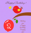 bird heart Birthday two years old vector image
