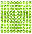 100 security icons set green circle vector image vector image