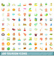 100 tourism icons set cartoon style vector image vector image